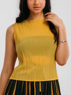 مطوي الأعلى مع كتلة اللون مخطط غاوتشو السراويل - الأصفر