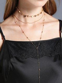 Star Collarbone Chain Necklace Set - Golden
