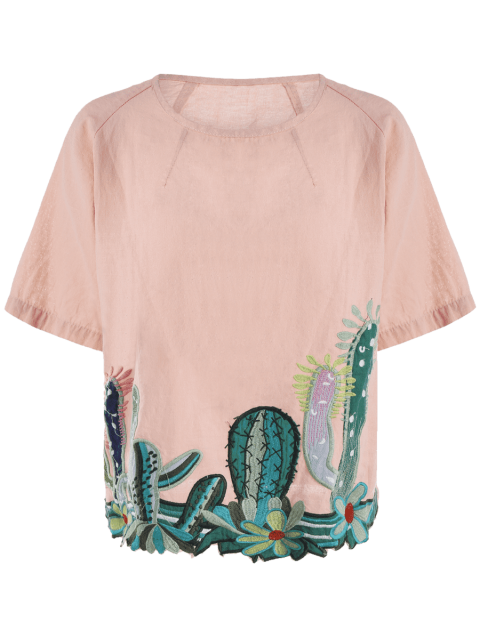 affordable Round Collar Cacti Embroidered Blouse - PINK ONE SIZE Mobile