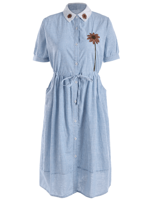 hot Floral Patched Button Up Striped Dress - LIGHT BLUE ONE SIZE Mobile