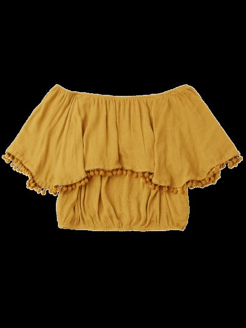 latest Off The Shoulder Flounce Embellished Blouse - GINGER ONE SIZE Mobile