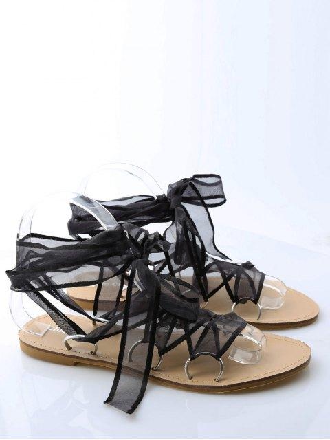 unique Metal Ring Flat Heel Tie Up Sandals - BLACK 40 Mobile