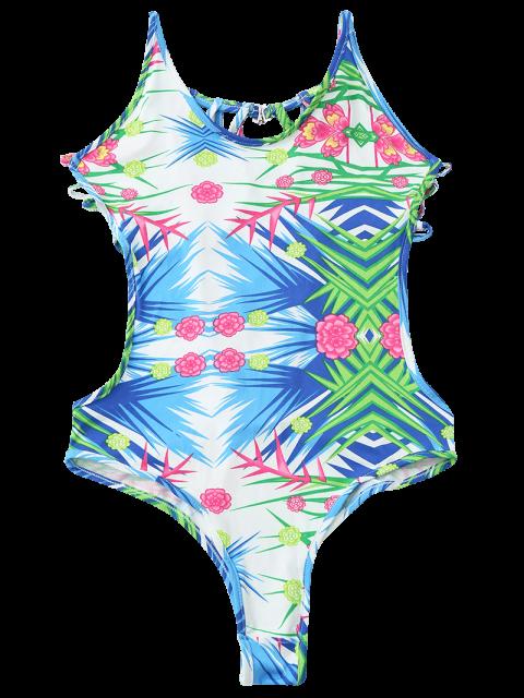 fancy U-Neck Colorful One-Piece Swimwear - COLORMIX S Mobile
