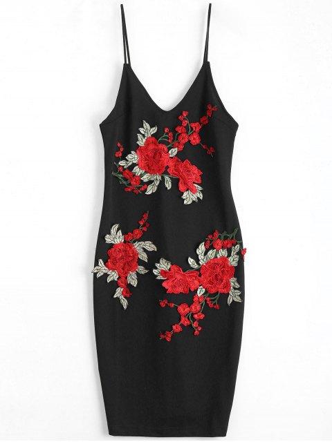 Rose Brodée Patched Slip Bodycon Dress - Noir M Mobile