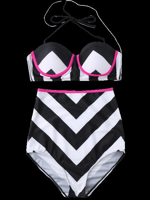 outfits Zig Zag Cami Push Up Bikini Set - WHITE AND BLACK S Mobile