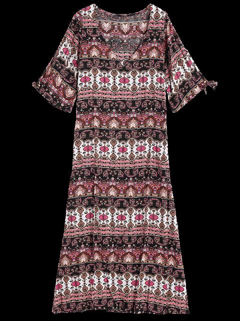 sale Ethnic Print Floor-Length Dress - COLORMIX M Mobile