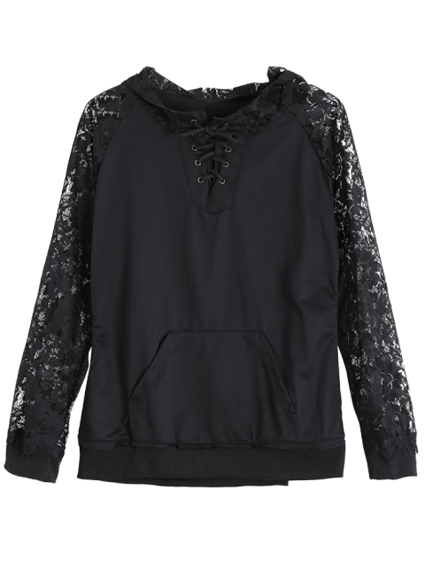 ladies Front Pocket Lace Insert Hoodie - BLACK XL Mobile