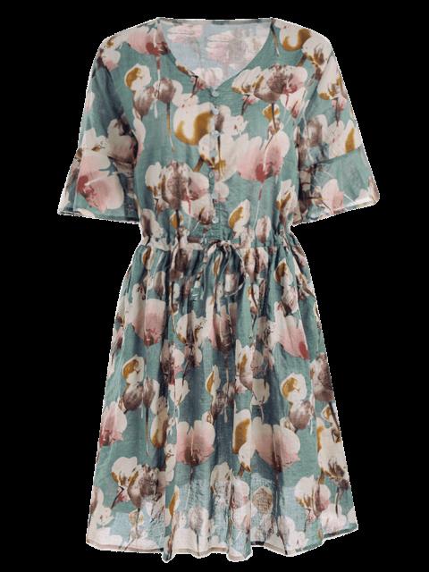 fancy Floral Print V Neck Drawstring Dress - FLORAL ONE SIZE Mobile
