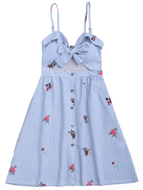 sale Bowknot Smocked Cut Out Slip Dress - MULTICOLOR S Mobile