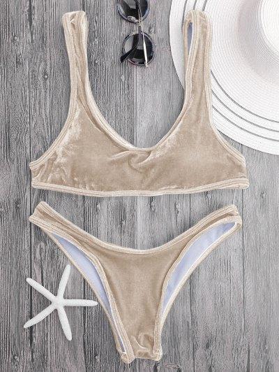 Ensemble De Bikini En Velours Bralette Scoop - Camel M