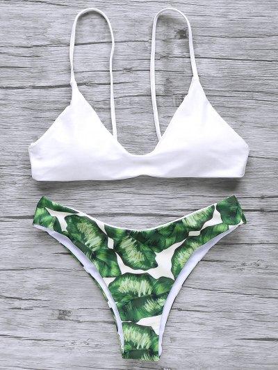 Bikini à Bretelles Spaghetti Imprimé Feuille De Palmier - Blanc S