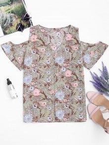 Loose Floral Cold Shoulder Top