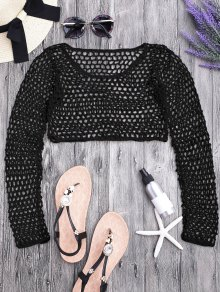 Crochet Fishnet Beach Cover Up Crop Top - Black M