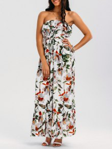 Belted Floral Ruffles Tube Maxi Dress