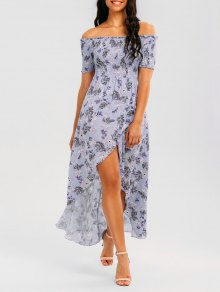 Floral Smocked Off Shoulder Maxi Dress