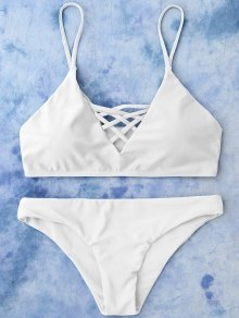 Lace Up Bikini Swimwear - White S