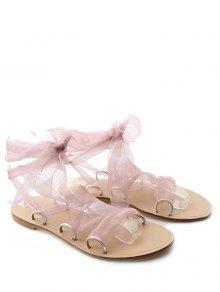 Buy Metal Ring Flat Heel Tie Sandals - PINK 39