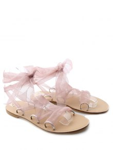Metal Ring Flat Heel Tie Up Sandals - Pink 38