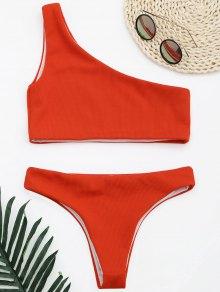 Ribbed Texture One Shoulder Bikini