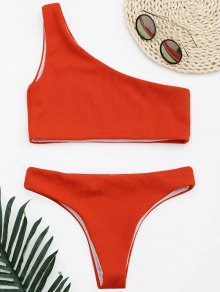 Ribbed Texture One Shoulder Bikini