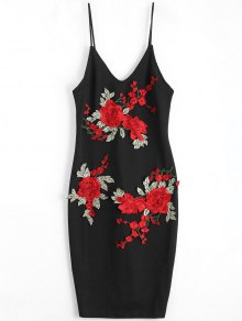 Rose Embroidered Patched Slip Bodycon Dress - Black M