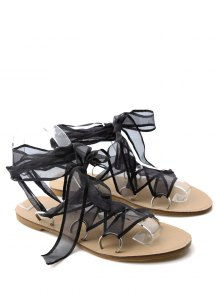 Metal Ring Flat Heel Tie Up Sandals - Black 38