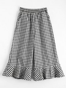 Ruffles Checked Wide Leg Pants