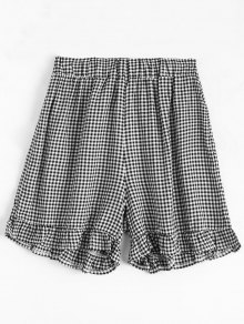 High Waisted Ruffles Plaid Shorts