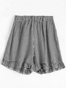High Waisted Ruffles Plaid Shorts