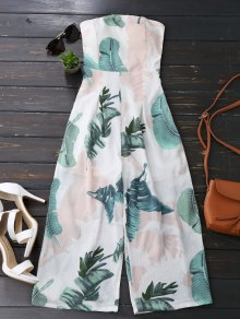 Leaves Print Strapless Jumpsuit