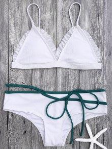 Spaghetti Strap Ruffle Trim Bikini Set