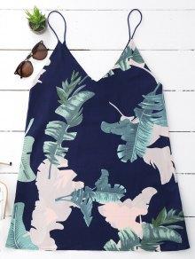 Leaves Print Mini Cami Shift Dress