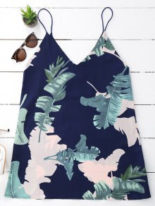 Leaves Print Mini Cami Shift Dress