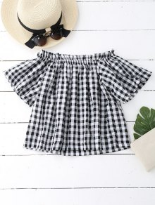 Off The Shoulder Ruffled Checked Blouse