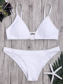 Criss Cross Spaghetti Strap Texture Bikini Set