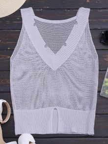 Knitting Slit Sheer Tank Top
