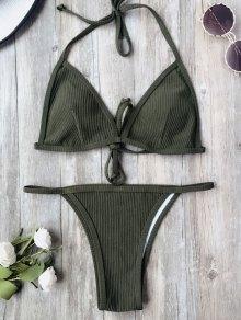 Padded Textured String Bikini Set