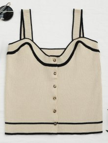 Color Block Knitted Button Up Tank Top