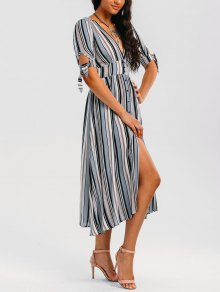 Stripes Bowknot Button Up Midi Dress