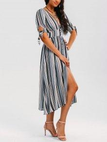 Stripes Bowknot Button Up Midi Dress - Stripe L
