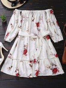 Vestido Con Cinturón Con Detalle Ahuecado Con Estampado Floral - Blanco M