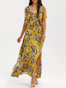Slit Floral Ruffles Maxi Dress - Yellow M
