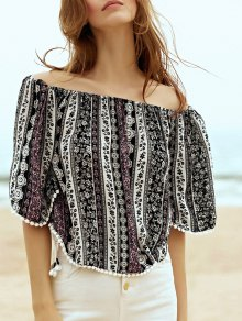 Printed Off the Shoulder Half Sleeve Blouse
