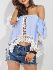 Off Shoulder Lace Panel Asymmetric Top - Azure Xl