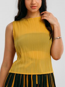 Pleated Top with Color Block Striped Gaucho Pants