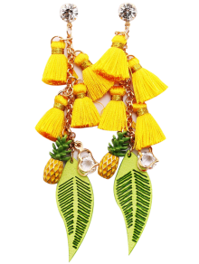 Rhinestone Pineapple Tassel Heart Chain Earrings