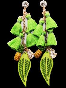 Rhinestone Boucles D'oreilles En Forme De Coeur - Vert