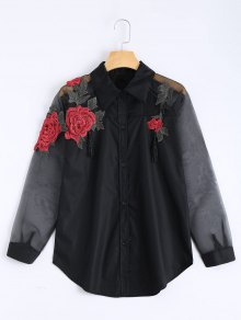 Embroidered Rose Applique Organza Panel BF Shirt