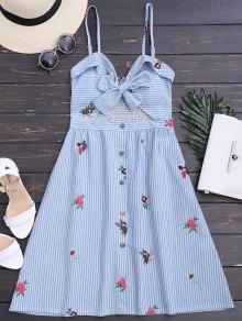 Bowknot Smocked Cut Out Slip Dress