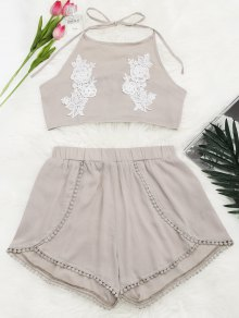 Lace Floral Halter Crop Top And Shorts - Yellowish Pink S